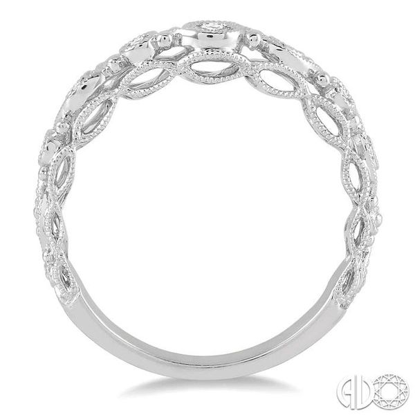 1/6 Ctw Round Cut Vintage Cutwork Diamond Wedding Band in 14K White Gold Image 3 Grogan Jewelers Florence, AL