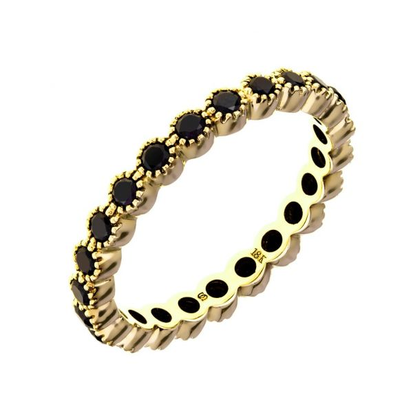 The Bezel Band with Black Diamonds in Yellow Gold Grogan Jewelers Florence, AL