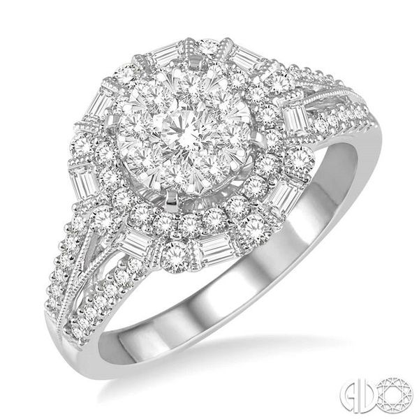 1 1/10 Ctw Diamond Lovebright Double Halo Engagement Ring in 14K White Gold Grogan Jewelers Florence, AL