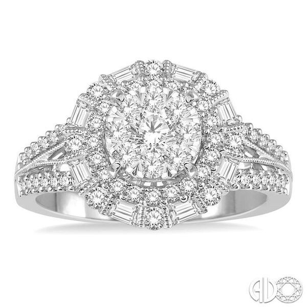 1 1/10 Ctw Diamond Lovebright Double Halo Engagement Ring in 14K White Gold Image 2 Grogan Jewelers Florence, AL