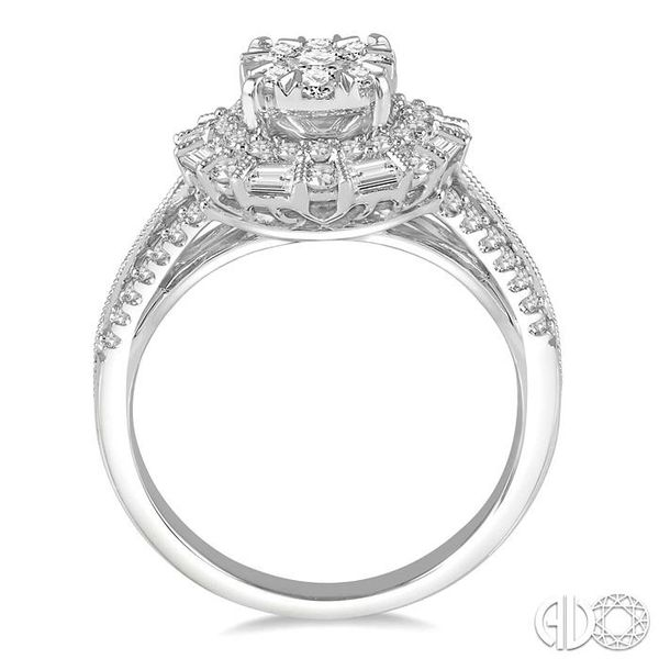 1 1/10 Ctw Diamond Lovebright Double Halo Engagement Ring in 14K White Gold Image 3 Grogan Jewelers Florence, AL