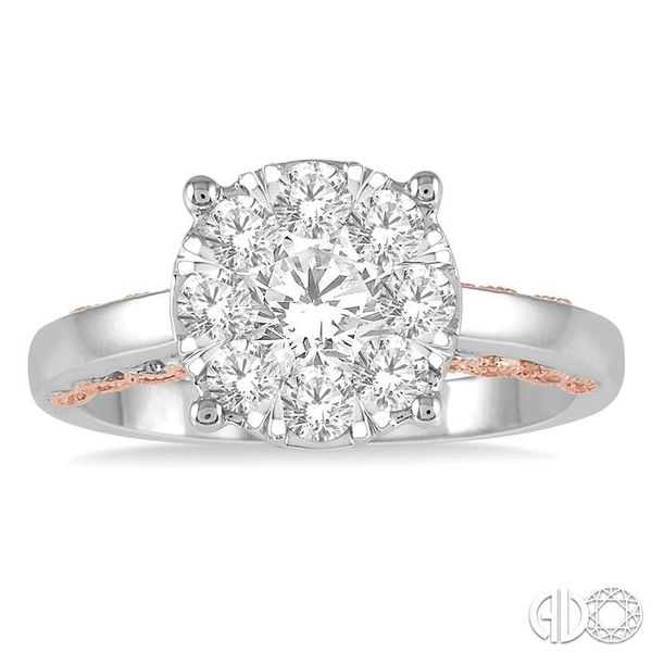 1 Ctw Round Diamond Lovebright Solitaire Style Engagement Ring in 14K White and Rose Gold Image 2 Grogan Jewelers Florence, AL
