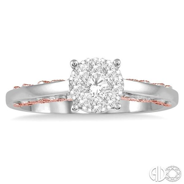 1/3 Ctw Round Cut Diamond Lovebright Ring in 14K White and Rose Gold Image 2 Grogan Jewelers Florence, AL
