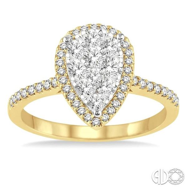 3/4 Ctw Pear Shape Diamond Lovebright Ring in 14K Yellow and yellow and white gold Image 2 Grogan Jewelers Florence, AL