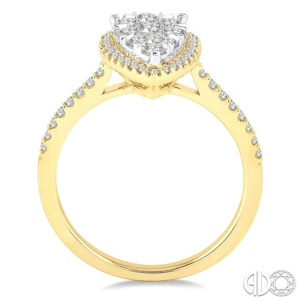 3/4 Ctw Pear Shape Diamond Lovebright Ring in 14K Yellow and yellow and white gold Image 3 Grogan Jewelers Florence, AL