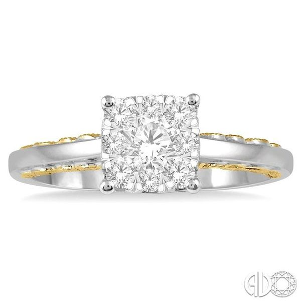 1/2 Ctw Round Diamond Lovebright Solitaire Style Engagement Ring in 14K White and Yellow Gold Image 2 Grogan Jewelers Florence, AL