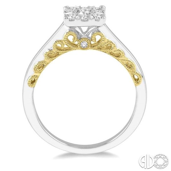 1/2 Ctw Round Diamond Lovebright Solitaire Style Engagement Ring in 14K White and Yellow Gold Image 3 Grogan Jewelers Florence, AL