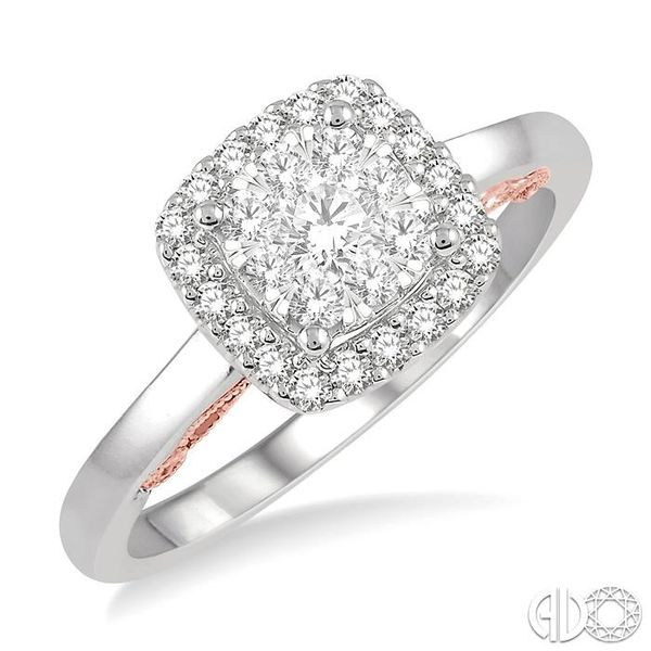 1/2 Ctw Cushion Shape Lovebright Round Cut Diamond Ring in 14K White and Rose Gold Grogan Jewelers Florence, AL