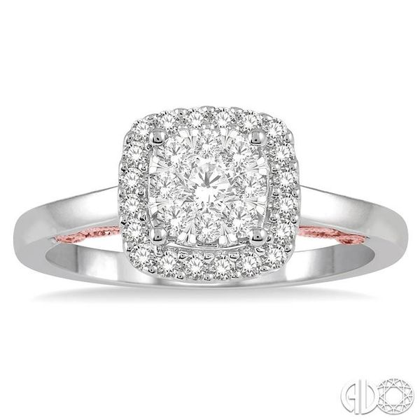 1/2 Ctw Cushion Shape Lovebright Round Cut Diamond Ring in 14K White and Rose Gold Image 2 Grogan Jewelers Florence, AL