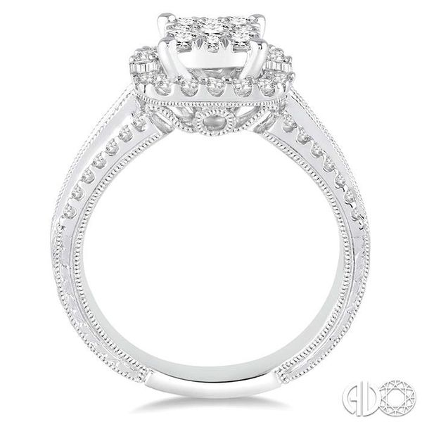 1 Ctw Square Shape Diamond Lovebright Engagement Ring in 14K White Gold Image 3 Grogan Jewelers Florence, AL