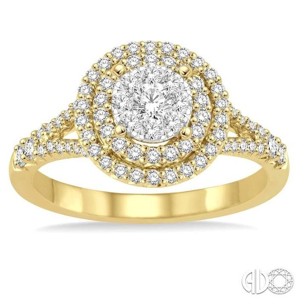 7/8 Ctw Diamond Lovebright Ring in 14K Yellow and White Gold Image 2 Grogan Jewelers Florence, AL