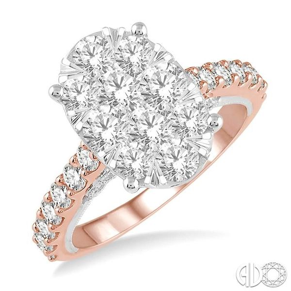 2 ct Oval Shape Lovebright Diamond Cluster Ring in 14K Rose and White Gold Grogan Jewelers Florence, AL