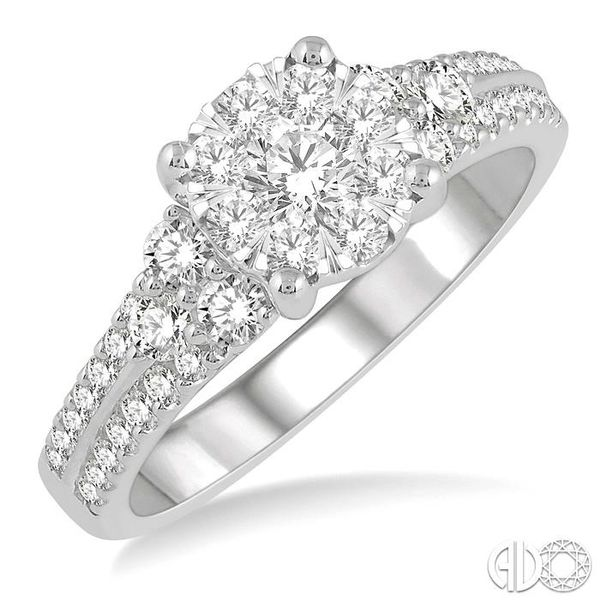 7/8 Ctw Lovebright Diamond Cluster Ring in 14K White Gold Grogan Jewelers Florence, AL