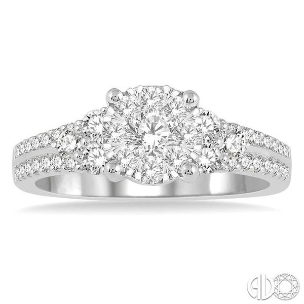 7/8 Ctw Lovebright Diamond Cluster Ring in 14K White Gold Image 2 Grogan Jewelers Florence, AL