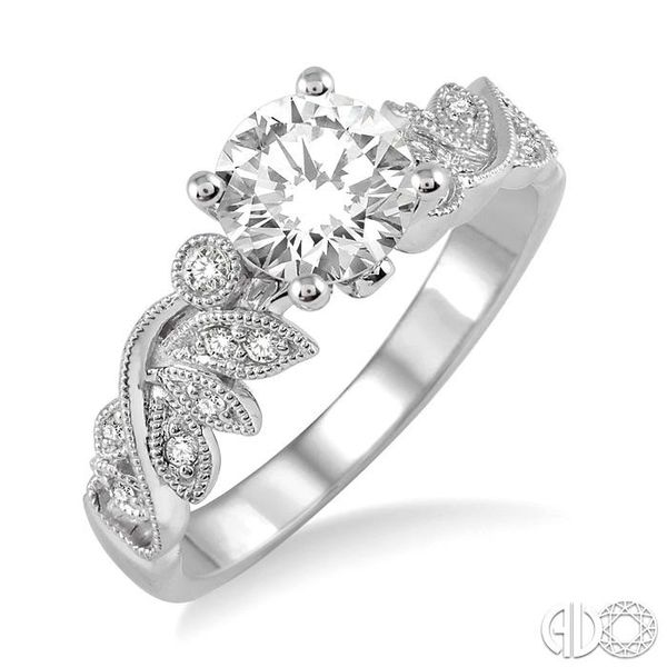 1/2 Ctw Diamond Engagement Ring with 1/3 Ct Round Cut Center Stone in 14K White Gold Grogan Jewelers Florence, AL