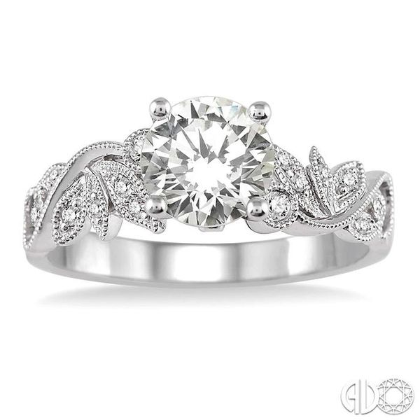 1/2 Ctw Diamond Engagement Ring with 1/3 Ct Round Cut Center Stone in 14K White Gold Image 2 Grogan Jewelers Florence, AL