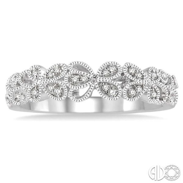 1/10 Ctw Round Cut Diamond Wedding Band in 14K White Gold Image 2 Grogan Jewelers Florence, AL