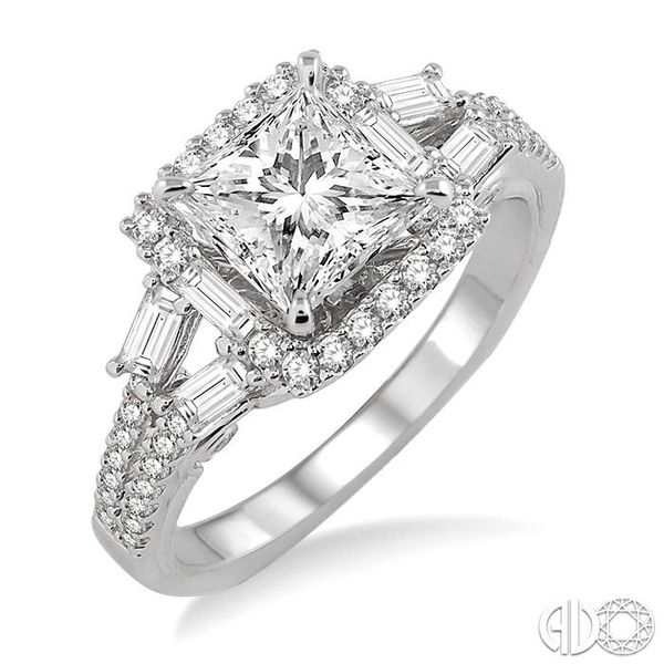 1 1/6 Ctw Diamond Engagement Ring with 5/8 Ct Princess Cut Center Stone in 14K White Gold Grogan Jewelers Florence, AL