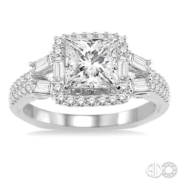 1 1/6 Ctw Diamond Engagement Ring with 5/8 Ct Princess Cut Center Stone in 14K White Gold Image 2 Grogan Jewelers Florence, AL