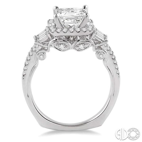 1 1/6 Ctw Diamond Engagement Ring with 5/8 Ct Princess Cut Center Stone in 14K White Gold Image 3 Grogan Jewelers Florence, AL