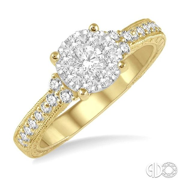 5/8 Ctw Round Shape Lovebright Diamond Cluster Ring in 14K Yellow and White Gold Grogan Jewelers Florence, AL