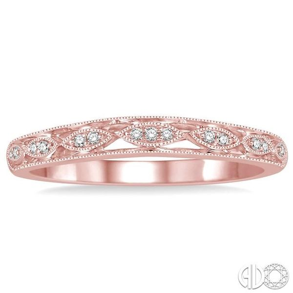 1/20 Ctw Round Cut Diamond Wedding Band in 14K Rose Gold Image 2 Grogan Jewelers Florence, AL