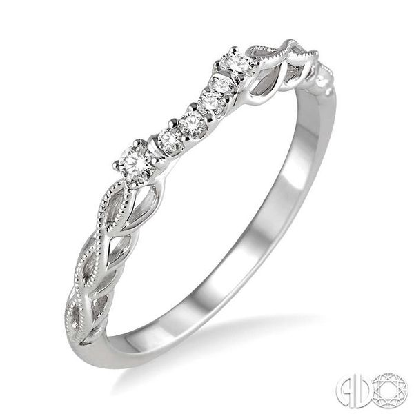 1/10 Ctw Round Cut Diamond Wedding Band in 14K White Gold Grogan Jewelers Florence, AL