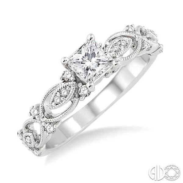 5/8 Ctw Diamond Engagement Ring with 3/8 Ct Princess Cut Center Stone in 14K White Gold Grogan Jewelers Florence, AL