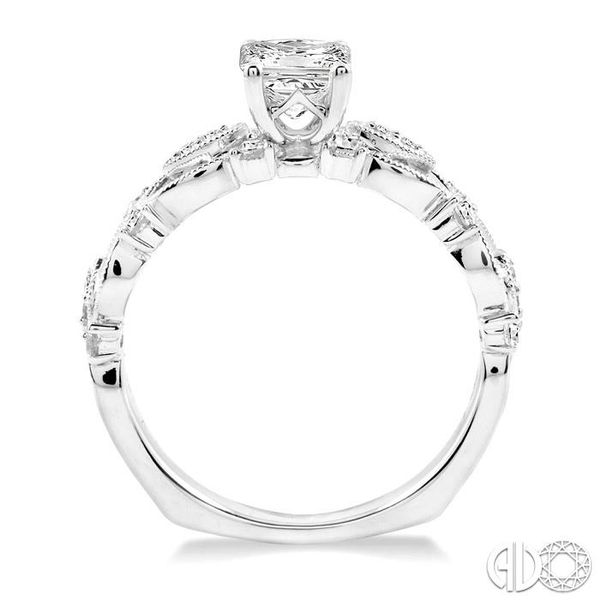 5/8 Ctw Diamond Engagement Ring with 3/8 Ct Princess Cut Center Stone in 14K White Gold Image 3 Grogan Jewelers Florence, AL