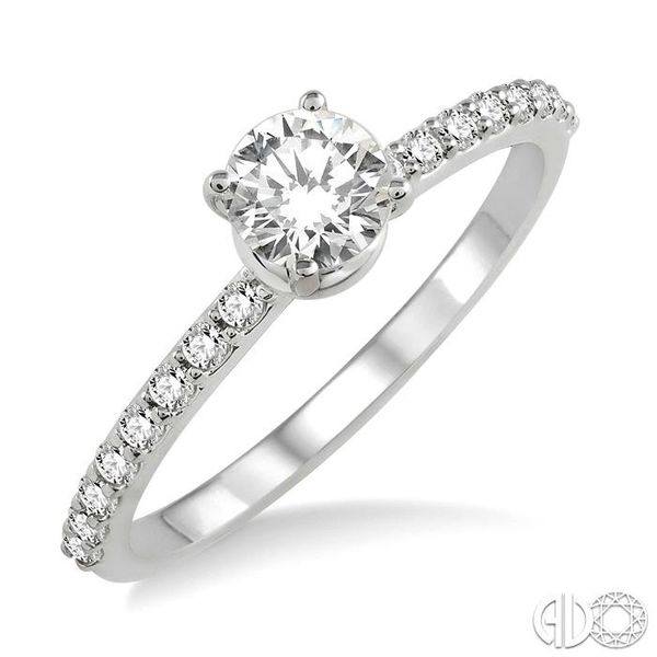 3/4 Ctw Diamond Engagement Ring with 1/2 Ct Round Cut Center Stone in 14K White Gold Grogan Jewelers Florence, AL