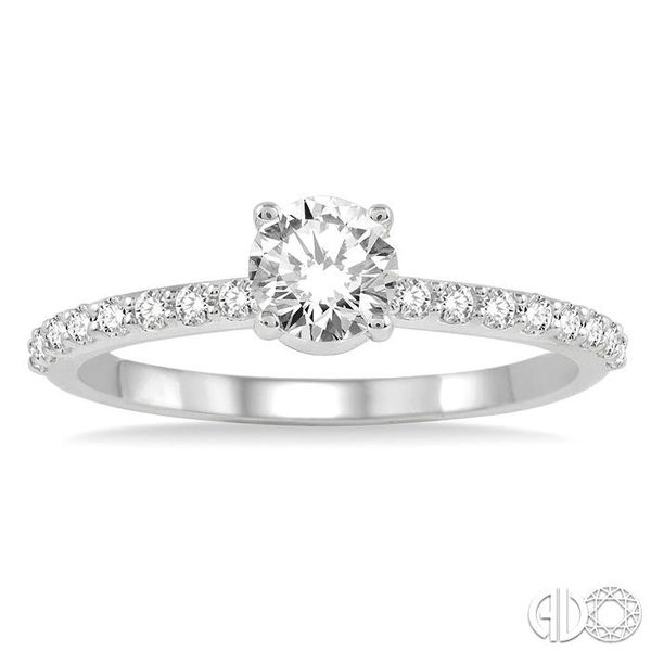 3/4 Ctw Diamond Engagement Ring with 1/2 Ct Round Cut Center Stone in 14K White Gold Image 2 Grogan Jewelers Florence, AL