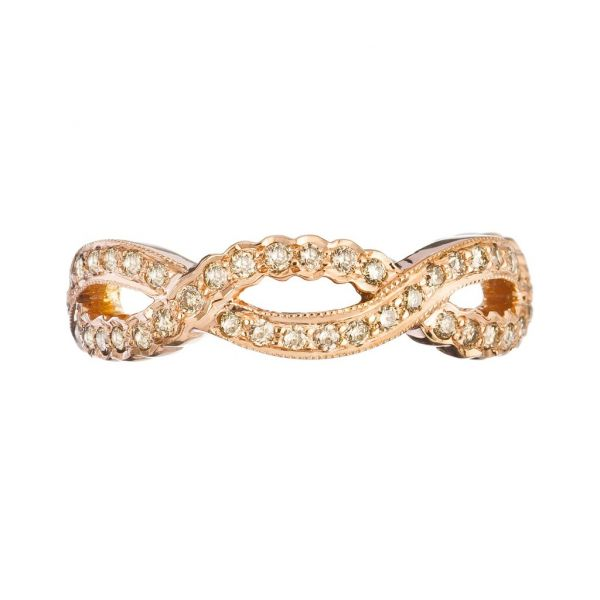 The Infinity Band in Rose Gold and Champagne Diamonds Grogan Jewelers Florence, AL