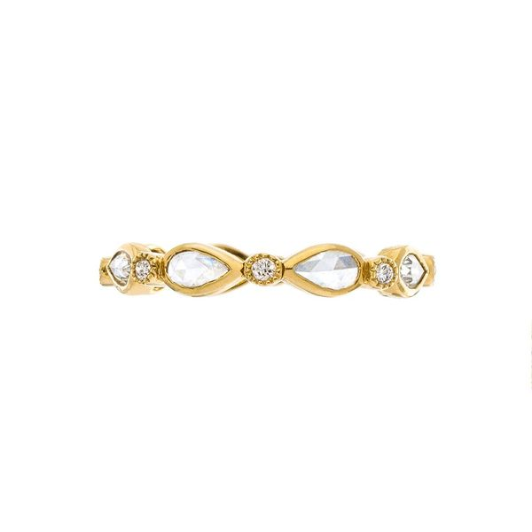 No. 24 Stacked Bands with White Diamonds in Yellow Gold Image 3 Grogan Jewelers Florence, AL