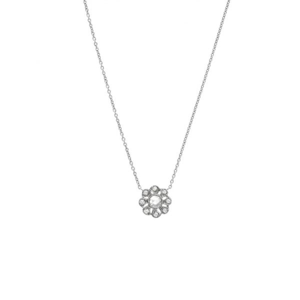 The Flora Necklace with White Diamonds in White Gold Grogan Jewelers Florence, AL