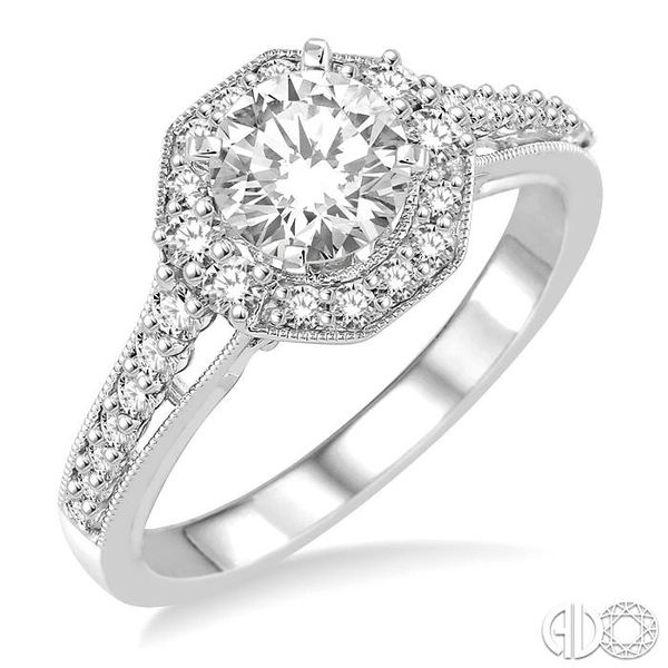 1 Ctw Diamond Engagement Ring with 1/2 Ct Round Cut Center Stone in 14K White Gold Grogan Jewelers Florence, AL