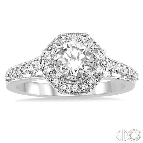 1 Ctw Diamond Engagement Ring with 1/2 Ct Round Cut Center Stone in 14K White Gold Image 2 Grogan Jewelers Florence, AL