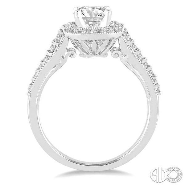1 Ctw Diamond Engagement Ring with 1/2 Ct Round Cut Center Stone in 14K White Gold Image 3 Grogan Jewelers Florence, AL