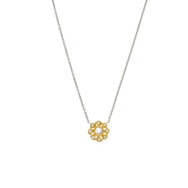 The Flora Necklace with White Diamonds in Yellow Gold Grogan Jewelers Florence, AL