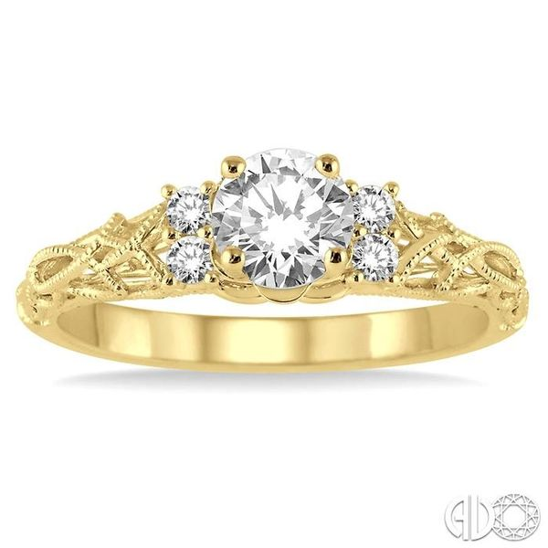 1/3 Ctw Diamond Engagement Ring with 1/4 Ct Round Cut Center Stone in 14K Yellow Gold Image 2 Grogan Jewelers Florence, AL