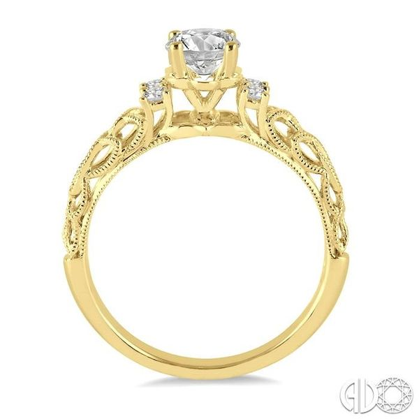 1/3 Ctw Diamond Engagement Ring with 1/4 Ct Round Cut Center Stone in 14K Yellow Gold Image 3 Grogan Jewelers Florence, AL