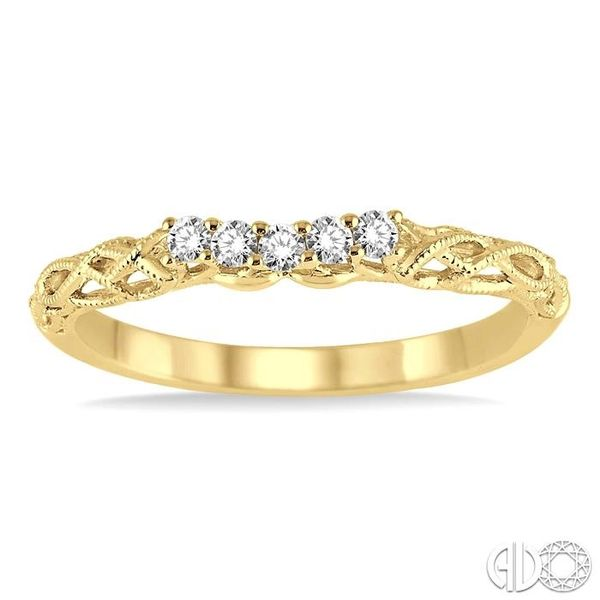 1/10 Ctw Round Cut Diamond Wedding Band in 14K Yellow Gold Image 2 Grogan Jewelers Florence, AL
