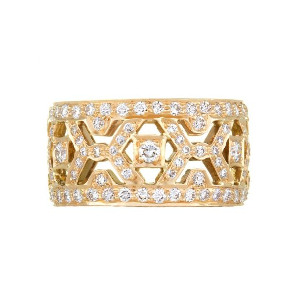 "The ""X"" Band with White Diamonds in Yellow Gold Grogan Jewelers Florence, AL"