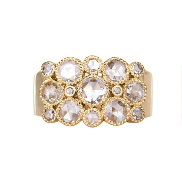 The Josephine Ring with White Diamonds in Yellow Gold Grogan Jewelers Florence, AL