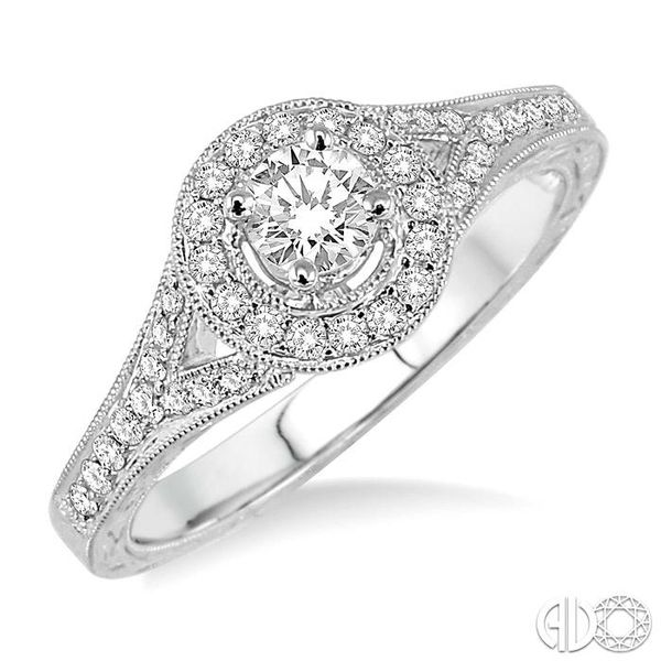 1/2 Ctw Diamond Engagement Ring with 1/4 Ct Round Cut Center Stone in 14K White Gold Grogan Jewelers Florence, AL
