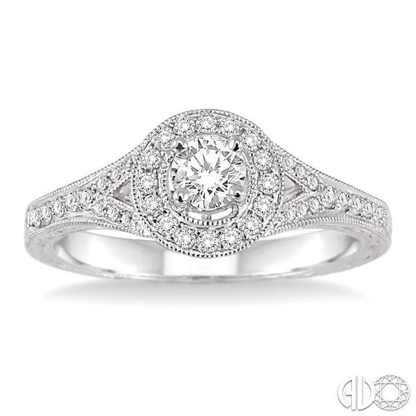 1/2 Ctw Diamond Engagement Ring with 1/4 Ct Round Cut Center Stone in 14K White Gold Image 2 Grogan Jewelers Florence, AL