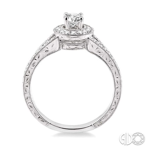 1/2 Ctw Diamond Engagement Ring with 1/4 Ct Round Cut Center Stone in 14K White Gold Image 3 Grogan Jewelers Florence, AL