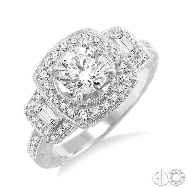 1 1/6 Ctw Diamond Engagement Ring with 3/4 Ct Round Cut Center Stone in 14K White Gold Grogan Jewelers Florence, AL