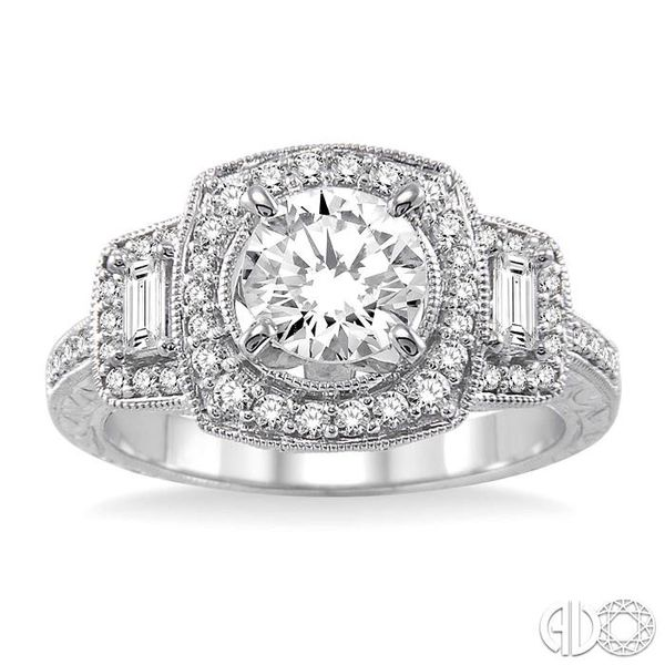 1 1/6 Ctw Diamond Engagement Ring with 3/4 Ct Round Cut Center Stone in 14K White Gold Image 2 Grogan Jewelers Florence, AL