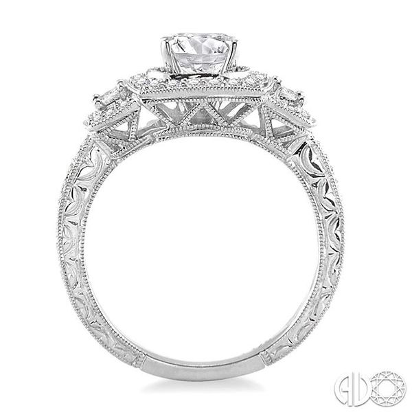 1 1/6 Ctw Diamond Engagement Ring with 3/4 Ct Round Cut Center Stone in 14K White Gold Image 3 Grogan Jewelers Florence, AL