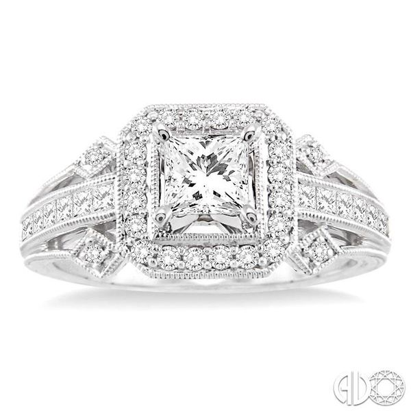1 Ctw Diamond Engagement Ring with 1/2 Ct Princess Cut Center Stone in 14K White Gold Image 2 Grogan Jewelers Florence, AL